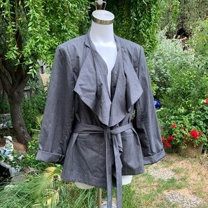 LANE BRYANT Gray Ruffle Blazer Jacket Plus 22